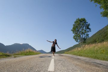 .Woman on the road only going