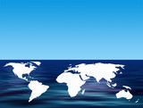World outline map floating on simulated water poster
