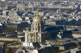 France, Paris: nice aerial city view with Invalides monument poster