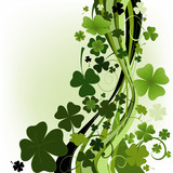 Fototapety design for St. Patrick's Day with four and three leaf clovers