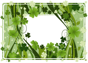 frame for St. Patrick's Day with four and three leaf clovers