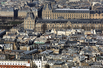 France, Paris: nice aerial city view with the Louvre museum