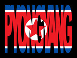 Pyongyang text with North Korean flag