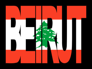 Beirut text with Lebanese flag