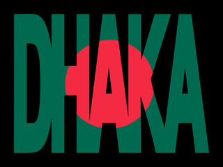 Dhaka text with flag