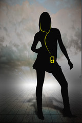 Women with mp3 player on horizon grid
