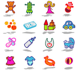 color icons - toys and childhood