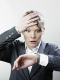 Stressed woman and wristwatch poster