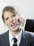 Female executive punched poster