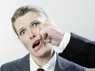 Female executive punched