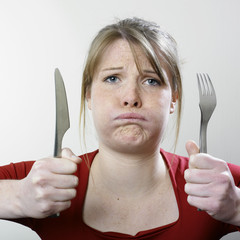 Hungry disappointed woman