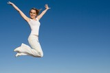 happy fit healthy woman jumping for joy poster