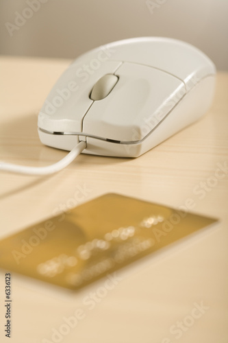 a mouse and a credit card