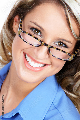 Young smile business woman. Over white background.