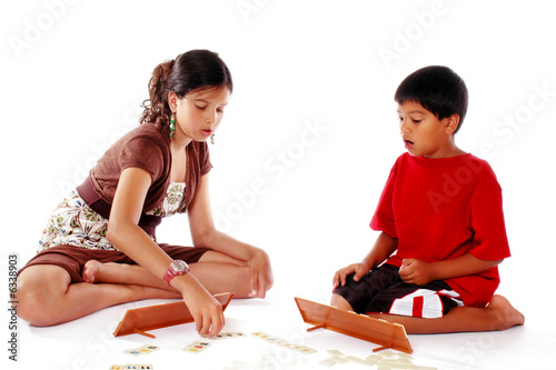 Brother and Sister Playing a Game