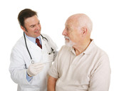 Senior man at the doctor finding out his temperature is good poster