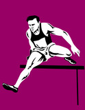 Athlete jumping hurdle poster