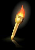 Torche olympique sur fond noir (reflet) poster