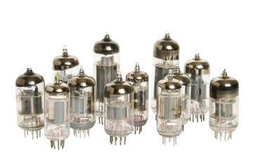 Vacuum tubes on white background