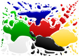 vector - various coloured blots with reflection poster