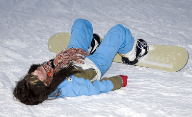A health lifestyle image of teens snowboarder girl
