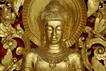 Buddha Carving inside a temple, Luang Prabang, Laos.