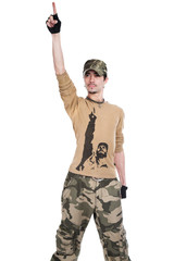 The person in a camouflage on a white background