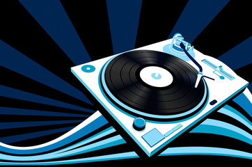 music concept; abstract design, turntable and rays
