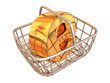 Consumer basket with sign for internet