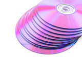 Stack of vibrant purple CDs on white background. No dust. poster
