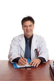 Doctor or surgeon sitting at  desk with writing pen and form. poster