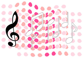 music tune on colorful pattern background