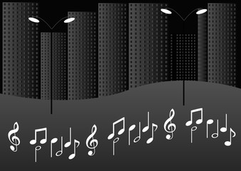 city at night with musical tune