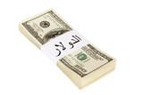 Petrodollars, dollar word written in arabic language on label poster