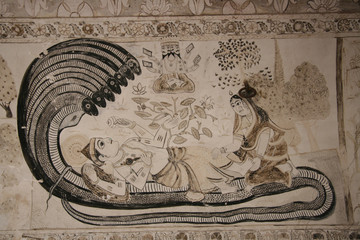 Wall-painting of Indian god