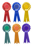 Six single-tier rosettes in various colours isolated on white poster