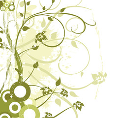 flower ornament vector design with grunge elements