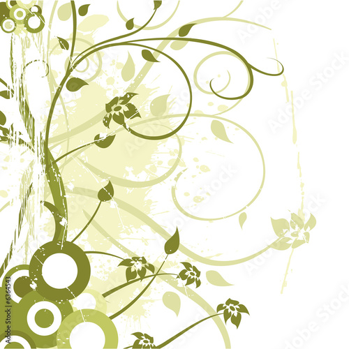 Photo: flower ornament vector design with grunge elements © khz #
