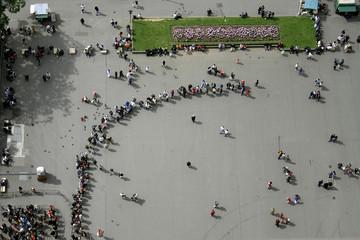 long queuing line at eiffel tower, paris, france