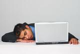 Business man sleeping on the job poster