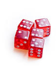 Red dices on white background