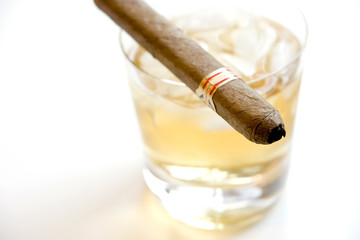 Cigar and whiskey on the rocks