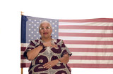 African American patriot with flag isolated over white poster