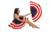 Naked American patriot with flag fan isolated over white poster