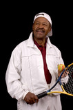 Older male african american tennis player in white  poster
