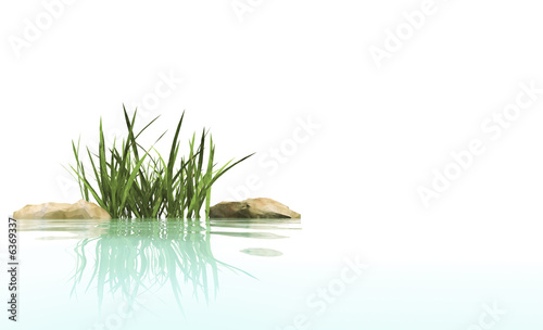 Small island from stones and grass - 6369337