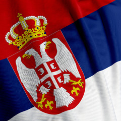 Closeup of the flag of Serbia, square image