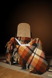 Rocking-chair with chequered plaid and open book poster