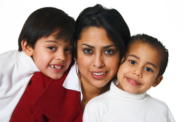 Hispanic mother with two boys