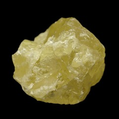 Crystal form of elemental sulfur (S) isolated on black.